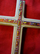 RED AND ORONGE CROSS EASTERCHRISTMAS WOOD DECOR SIGN UNIQUE PLAQUE HANDCRAFTED