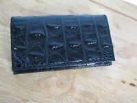 VEARI Authentic Genuine Crocodile Skin Tri-Fold Long Black Wallet - Brand New