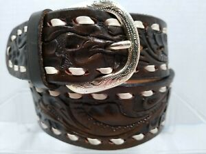 Justin Western Leather Brown Hand Tooled Silver tone Belt size 32 style 915C