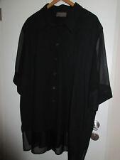 edle feine bluse gr.54/56,schwarz,ärmel und saum besonders,von sempre piu