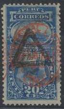 PERU 1883 POSTAGE DUE Sc J20 Yvert TT25 KEY VALUE USED F,VF SCARCE SCV$850.00