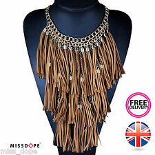 NEW GOLD BROWN MULTI TASSELS CHOKER NECKLACE WOMENS STRING LONG GYPSY LAYER BOHO