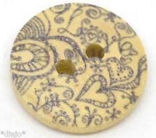 6 Stück Knöpfe Blume 18 mm grau Holzknöpfe Knopf zwei Löcher Nähen Schmuck 12655