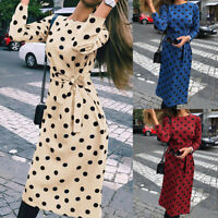 Women's Polka Dot Long Sleeve Midi Dress Lace Up Casual Party Evening Cocktail