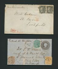 1858 INDIA COVER TO ENGLAND 4a SG 45 x2, INDIA PAID & 1872 8a COVER EX BOMBAY