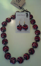 Kazuri Hand-Painted Fair Trade Bushfire Ceramic Necklace Earring Set Kenya.