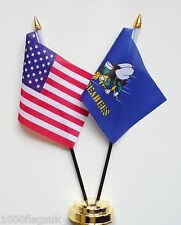 United States of America & US Navy Seabees Double Friendship Table Flag Set