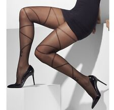 Ladies Opaque Tights with Cross & Bow Print Black Fancy Dress Tights by Smiffys