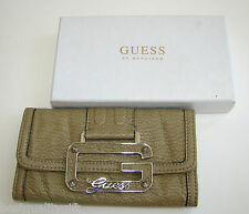 GUESS BY MARCIANO VIVE LE ROCK STONE.BEIGE,TAUPE LEATHERETTE WALLET,CLUTCH,LOGO