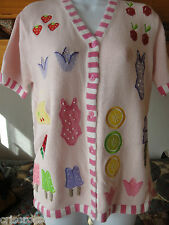 QUACKER FACTORY s/s PINK TUNIC Sweater * ICE CREAM *Fruit * BATHING SUIT * S / M