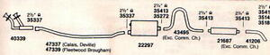 1975-1976 CADILLAC DEVILLE EXHAUST SYSTEM, ALUMINIZED WITH RESONATOR