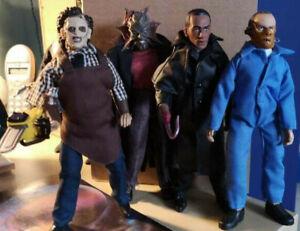 "MEGO HORROR Leatherface Candyman Hannibal Lecter 4 RETRO 8"" ACTION FIGURES"
