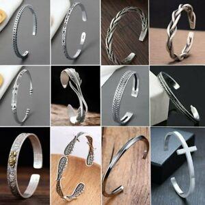 Retro 925 Silver Stainless Steel Cuff Bracelet Adjustable Women Men Jewelry Gift