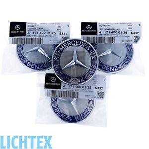 4x ORIGINAL MERCEDES-BENZ Radzierdeckel Stern Lorbeerkranz Royal Blau/Chrom NEU
