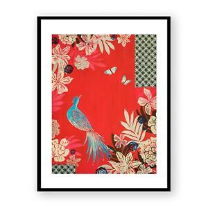 Peacock and Flowers Framed Print , Bird and Butterflies Wall Art , Red Decor