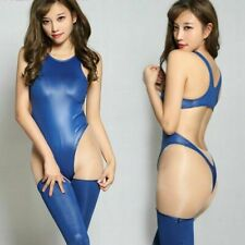 Lady Faux Leather Bodysuit Stockings Set Shiny Teddy Lingerie Catsuit Sexy Cosy