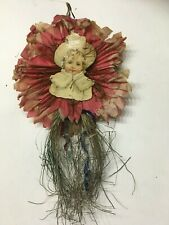 Antique Tinsel/Wire Wrapped Christmas Little Girl Ornament On Tissue Paper #4
