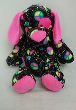 "Ganz Justice 13"" Black Pink Puppy Dog Plush Stuffed Animal Toy Peace Love"
