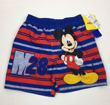 Mickey Mouse Swim Shorts Boys Toddler 2T Upf 50+ Blue Red