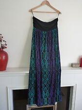Ladies Fab F+F Black Blue & Purple Mix Aztec Strapless Full Length Dress 12,Bnwt
