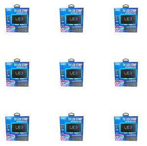 Lot Of 9 Tzumi USB LED Light Adhesive Strip 6.5' w Remote Control 16 Colors NEW