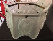 STUNNING PERIOD ART NOUVEAU DECO FRENCH FROSTED GLASS ARCHITECTURAL LIGHT SHADE