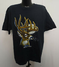 REAL TREE XL SHIRT MENS BLACK PRINTED DEER HUNTING BUCK TEAM COTTON NEW NWT COOL