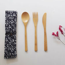 Totally Bamboo Bamboo Flatware Set, 100% Bamboo, Reusable Fork, Knife and Spoon