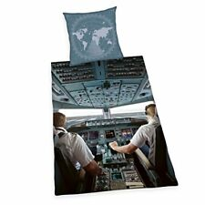 Airplane Pilot Cockpit Set Housse de couette Simple coton Herding - 2 en 1