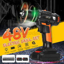 48V Electric Cordless Drill Rechargeable Driver Screw 18+1 Torque 1300R/m Tool