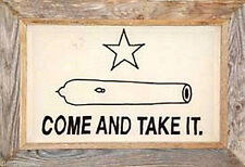 "Texas Gonzales Framed Barnwood Flag 28 x 40 ""Come and Take It"""