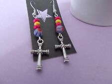 CELTIC CROSS charm & glass/ wooden bead surgical steel hook dangle gift earrings