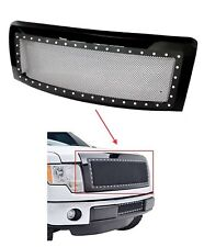 2009-2014 Ford F150 Front Hood Grille Steel Mesh Rivet Grill Gloss Black