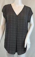 DR2 by Daniel Rainn Black Plaid Tunic Blouse Cap Sleeve Box Pleat Front Size S