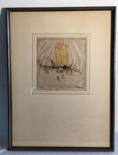 Original Dorsey Potter Tyson orig sgnd etching Junks and Coolies c1927 colored