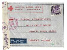 Netherland India Sc 180 on cover CENSORED ,RED CROSS 1940 to suisse  FVF