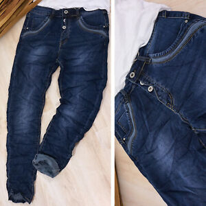 Baggy Jeans Hose Boyfriend blau Knöpfe XL 42 Stretch Karostar blue vintage