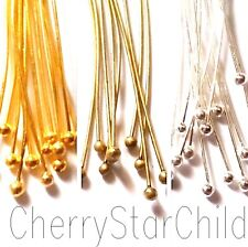 50 x BALL HEAD PINS silver gold bronze findings 25 mm-60 mm for craft jewellery