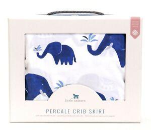 Little Unicorn White & Blue Elephant Percale Crib Skirt New in Box