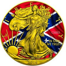 2016 1 Oz Silver CONFEDERATE FLAG Eagle coin,With 24KT Gold Gilded.
