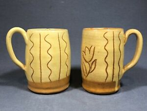 Pair Of Vintage Williamsburg Pottery James Maloney Mugs