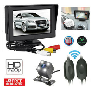 "4.3"" Wireless Reversing Parking Camera + LCD Monitor Foldable Car Rear View Kit"