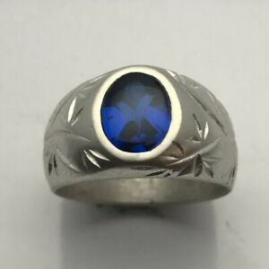 MJG STERLING SILVER BAMBOO RING. 8 X 10mm CUSHION LAB BLUE SAPPHIRE. SIZE 10
