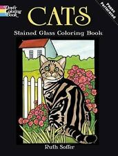 Dover CATS Stained Glass Adult Coloring Book Ruth Soffer 2009