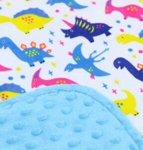 Baby kids Colourful Dinosaurs Plush Textured Minky Dot Minkee Blanket 70x100cm
