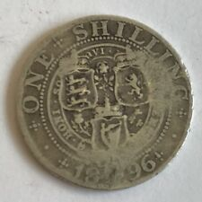 Antique Victoria Victorian Silver 1896 One Shilling Coin