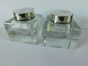 Pair ASPREY  LONDON ANTIQUE SOLID SILVER & GLASS INKWELLS