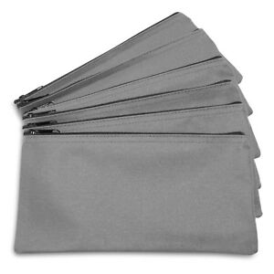 DALIX Zipper Bank Deposit Money Bags Cash Coin Pouch 6 Pack in Gray