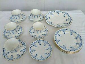 SHELLEY LATE FOLEY BLUE AND WHITE ART DECO TEA SET 18 PIECES