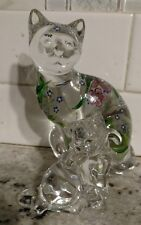 "Lenox Glass Cats Figurines from Estate 6"" & 3.5"" Hand Painted"